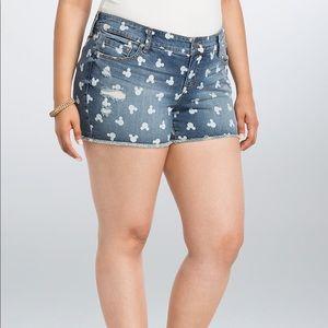 TORRID Minnie / Mickey denim jean shorts size 20